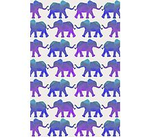 Follow The Leader - Painted Elephants in Purple, Royal Blue, & Mint Photographic Print