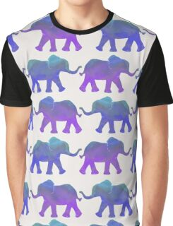 Follow The Leader - Painted Elephants in Purple, Royal Blue, & Mint Graphic T-Shirt
