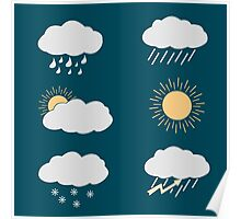 icon set weather contours  Poster