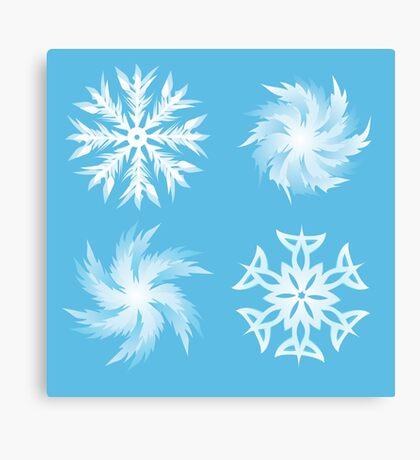 set of snowflakes white outline illustrations  Canvas Print