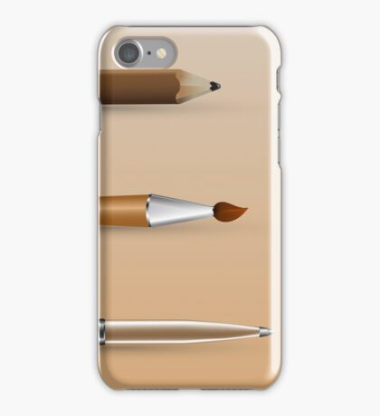 painting tools, set of pen, brush, pencil iPhone Case/Skin