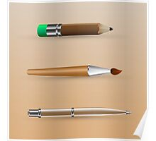 painting tools, set of pen, brush, pencil Poster