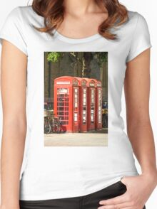Red Phone Boxes Women's Fitted Scoop T-Shirt