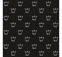Monochrome pattern with white crowns Photographic Print