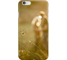 Pretty couple in the meadow on the sunset background  iPhone Case/Skin