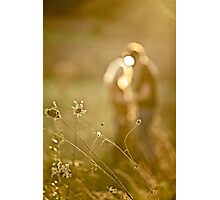 Pretty couple in the meadow on the sunset background  Photographic Print