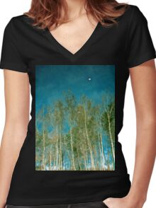 Beautiful summer in the forest. Reflection of birch in a lake Women's Fitted V-Neck T-Shirt