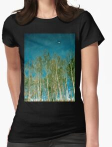 Beautiful summer in the forest. Reflection of birch in a lake Womens Fitted T-Shirt