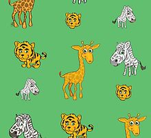 Cute Jungle Animals Pattern  by Silvia Neto