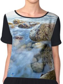 Rocks in a blue ocean waves.  Chiffon Top