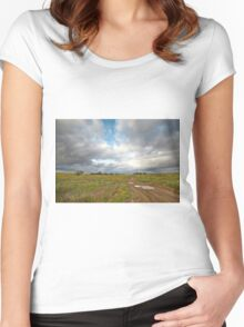 Country road and clouds Women's Fitted Scoop T-Shirt