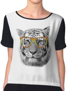 Tiger Glasses Chiffon Top