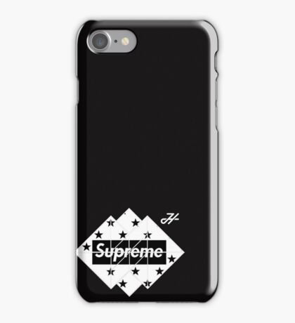 black and white supreme LOGO  iPhone Case/Skin