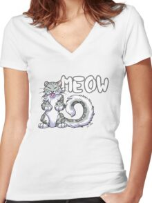 Snow leopard meow Women's Fitted V-Neck T-Shirt