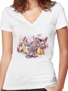 Pile of Cats Women's Fitted V-Neck T-Shirt