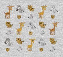 Cute Jungle Animals Pattern  One Piece - Long Sleeve