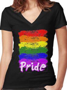 Rainbow LGB Brush Pride LGBT Pride Parade T-shirt Women's Fitted V-Neck T-Shirt