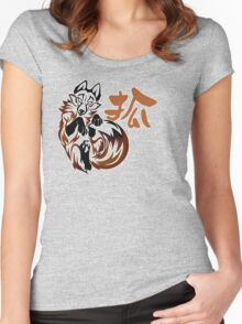 Fox tribal tattoo Women's Fitted Scoop T-Shirt
