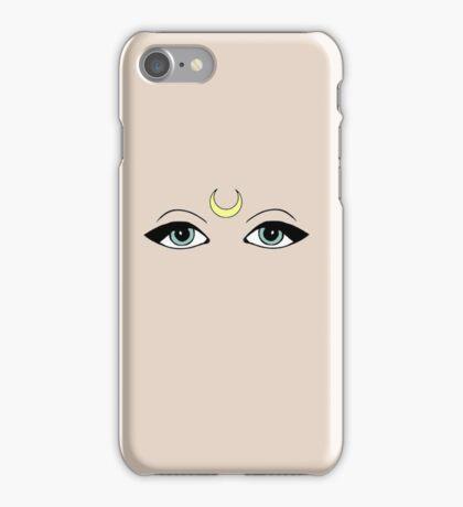 Crescent moon eyes iPhone Case/Skin