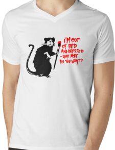 Banksy - Out of Bed Rat Mens V-Neck T-Shirt