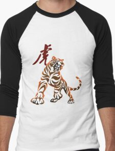 Tiger tribal tattoo Men's Baseball ¾ T-Shirt