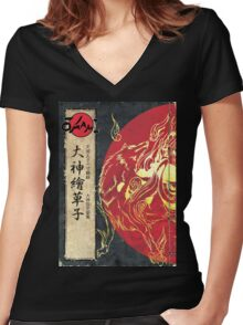 Poster okami Women's Fitted V-Neck T-Shirt