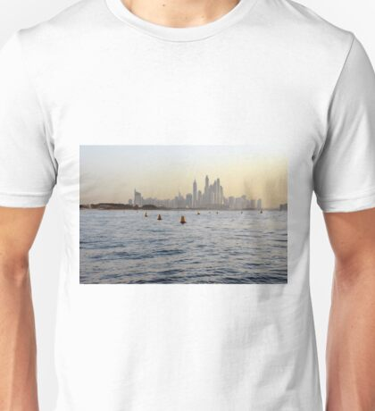 Photography of tall buildings waterfront, skyscrapers from Dubai, United Arab Emirates. Unisex T-Shirt