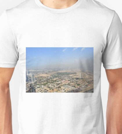 Photography of tall buildings, skyscrapers from Dubai seen from high altitude, United Arab Emirates. Unisex T-Shirt