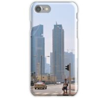 Photography of street with tall buildings from Dubai, United Arab Emirates. iPhone Case/Skin