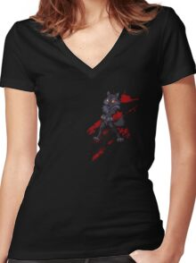 Cute anthro black wolf Women's Fitted V-Neck T-Shirt