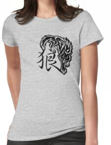 Wolf tattoo with Chinese word Womens Fitted T-Shirt