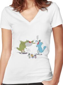 Character oggy Women's Fitted V-Neck T-Shirt