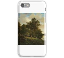 Barend Cornelis Koekkoek , () TWO HUNTER WITH SHOTGUN AND HUNTING DOGS IN A FOREST GLADE BESIDE A POND PEAT iPhone Case/Skin