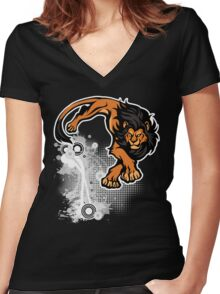 Lion pounce Women's Fitted V-Neck T-Shirt