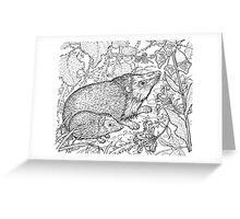 Hedgehog Black on White Greeting Card