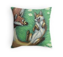 Playful foxes Throw Pillow