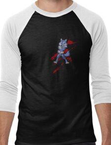 Cute anthro blue wolf Men's Baseball ¾ T-Shirt