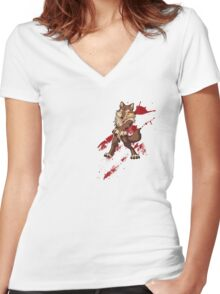 Cute anthro brown wolf Women's Fitted V-Neck T-Shirt