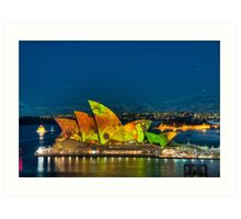 Vivid Opera House with Fort Denison Art Print