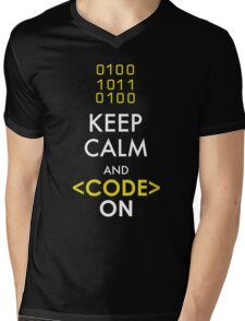 KEEP CALM AND CODE ON Mens V-Neck T-Shirt