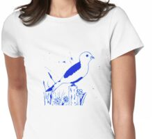 Monochrome bird on a pole vector Womens Fitted T-Shirt