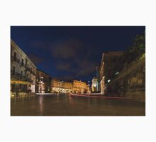 Car Light Trails on the Elegant Duomo Square in Ortygia, Syracuse One Piece - Short Sleeve