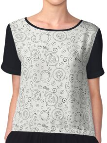 Coffee outline seamless pattern Chiffon Top