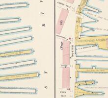 Map of Manhattan South piers A 1884 Sticker