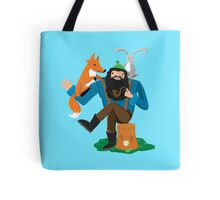 happy woodland lumberjack with animal friends Tote Bag