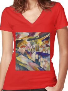 Kandinsky - Landscape With Rain Women's Fitted V-Neck T-Shirt
