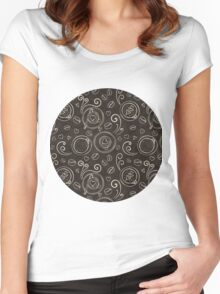 Coffee outline seamless pattern Women's Fitted Scoop T-Shirt