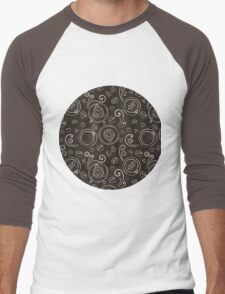Coffee outline seamless pattern Men's Baseball ¾ T-Shirt