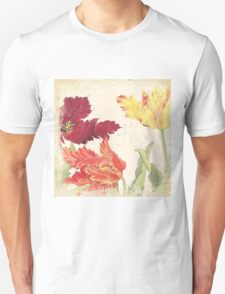 Vintage floral print on shabby white - Bright Tulips Flower T-Shirt