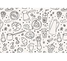 Coffee outline seamless pattern Photographic Print